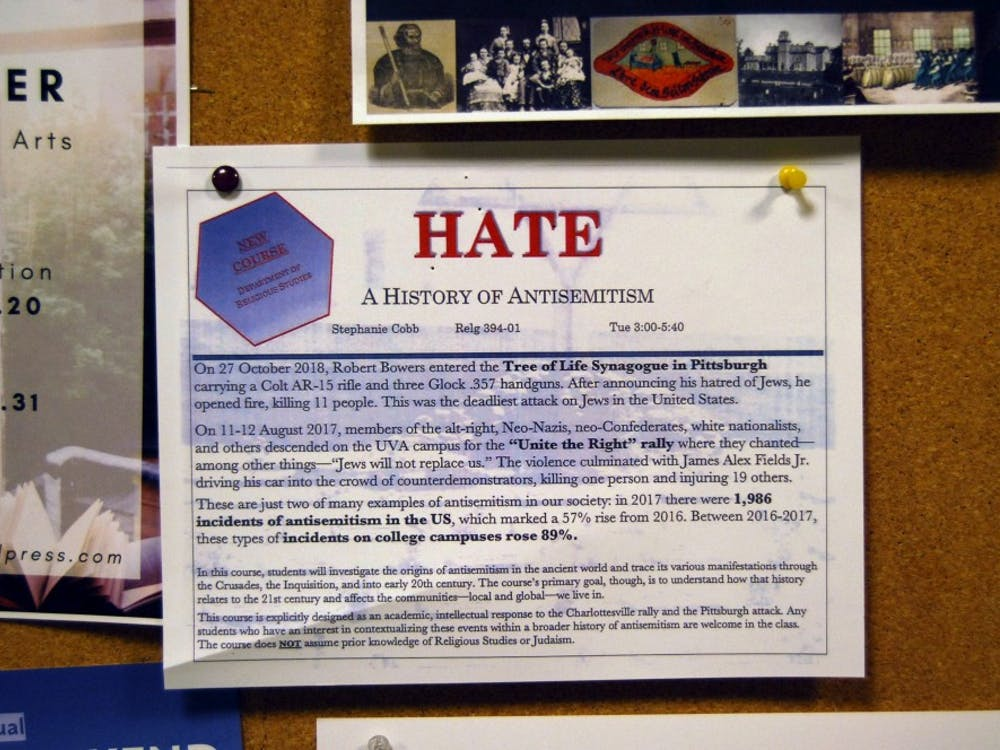 "A flyer for ""Hate: A History of Antisemitism,"" a new religious studies class that is being offered next spring."