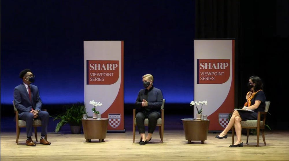<p>Political science professor Ernest McGowen sits down with former speechwriter Mary Kate Cary and analyst Mary Anne Marsh as part of UR's Sharp Viewpoint Series on Nov. 11.</p>