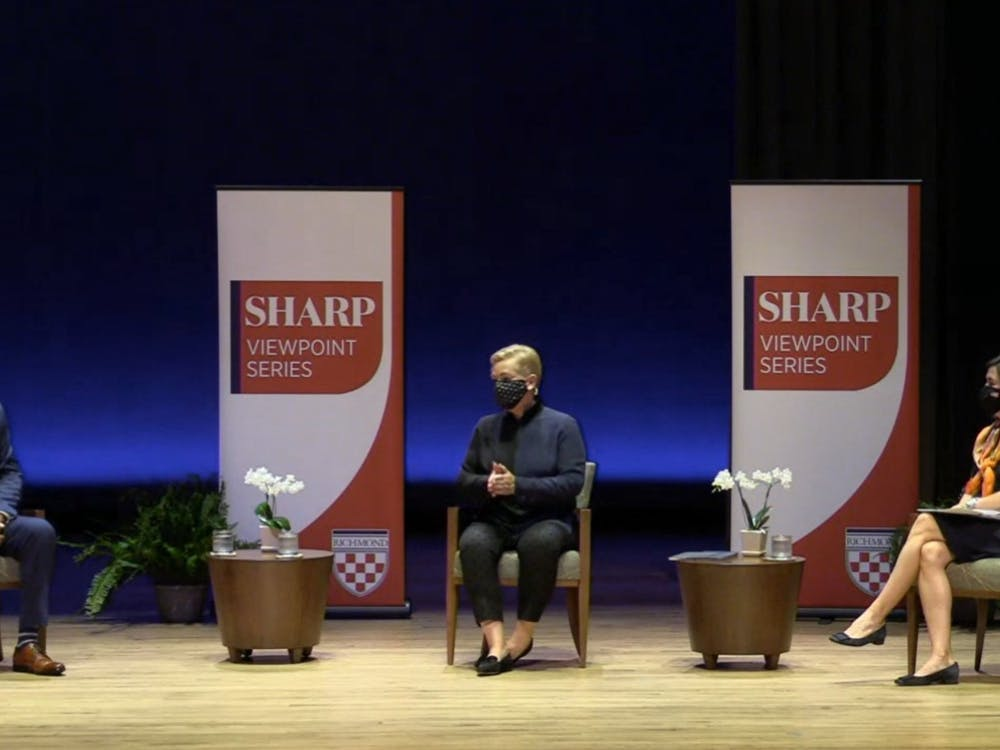 Political science professor Ernest McGowen sits down with former speechwriter Mary Kate Cary and analyst Mary Anne Marsh as part of UR's Sharp Viewpoint Series on Nov. 11.