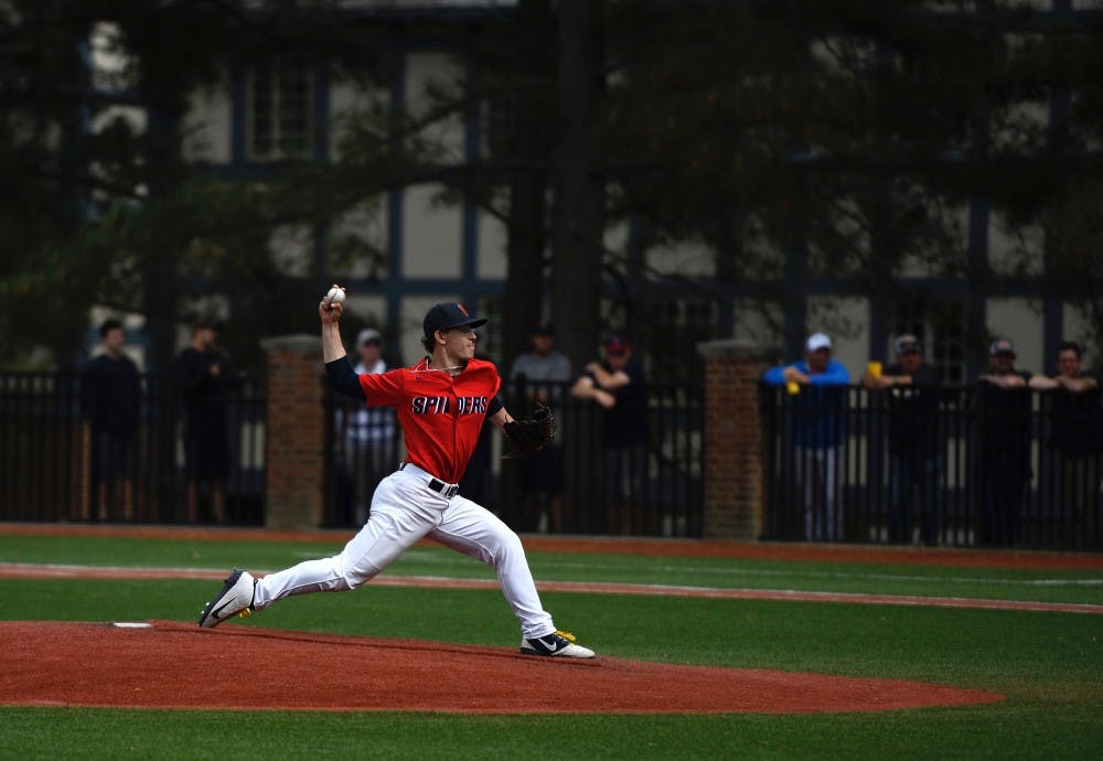 <p>First year right-handed pitched pitcher Jacob Marcus pitches in the April 20 game against VCU.&nbsp;</p>