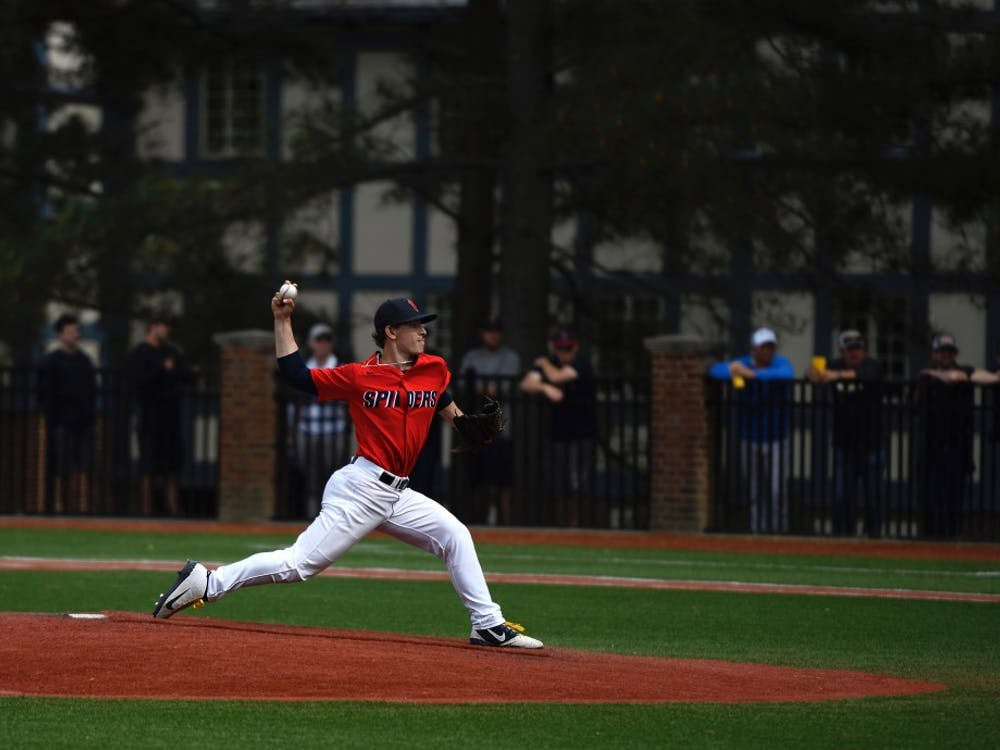 First year right-handed pitched pitcher Jacob Marcus pitches in the April 20 game against VCU.