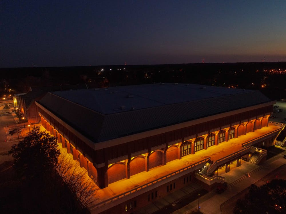 <p>Robins Arena shines in the night.</p>