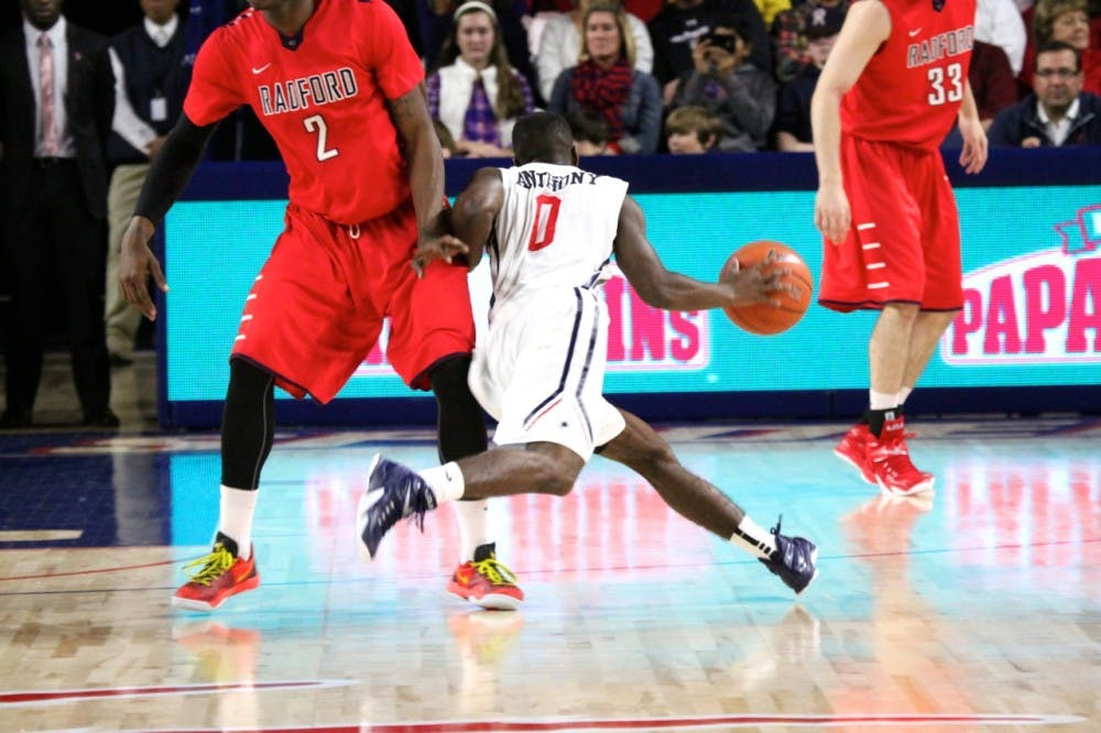 <p>Kendall Anthony drives past Radford toward the basket.</p>