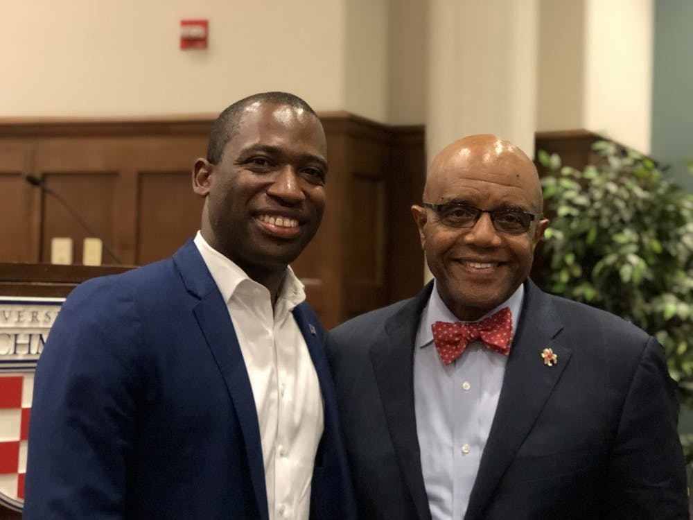 <p>Richmond Mayor Levar Stoney and University of Richmond President Ronald Crutcher pose after the Q&amp;A on April 8, 2019.</p>