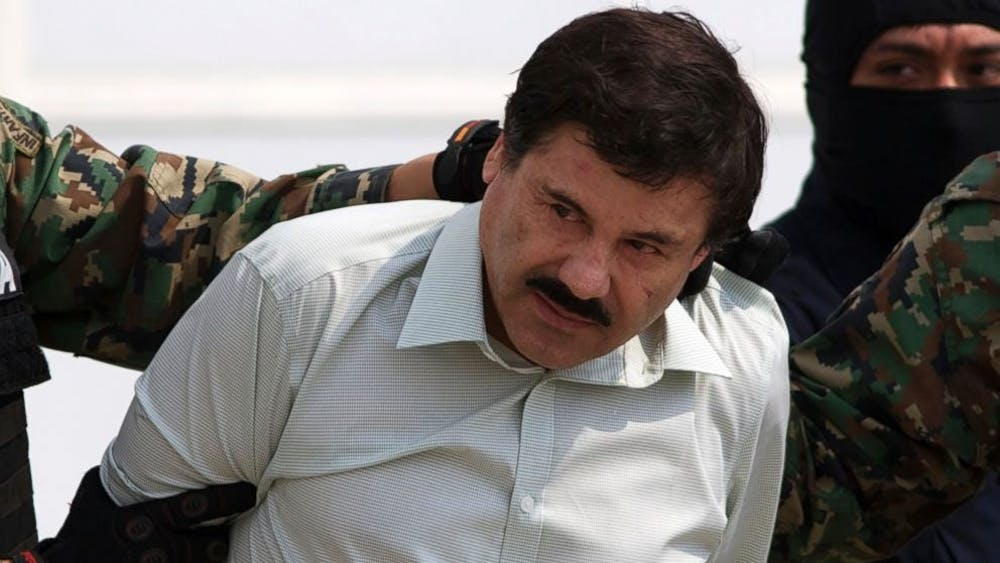 <p>El Chapo, shown here after being captured in 2014, is the leader of one of Mexico's most dangerous drug cartels |&nbsp;Courtesy of Day Donaldson/Flickr</p>