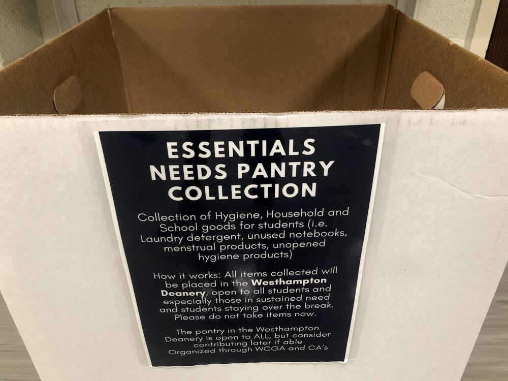 A collection bin explains the essential needs pantry initiative.