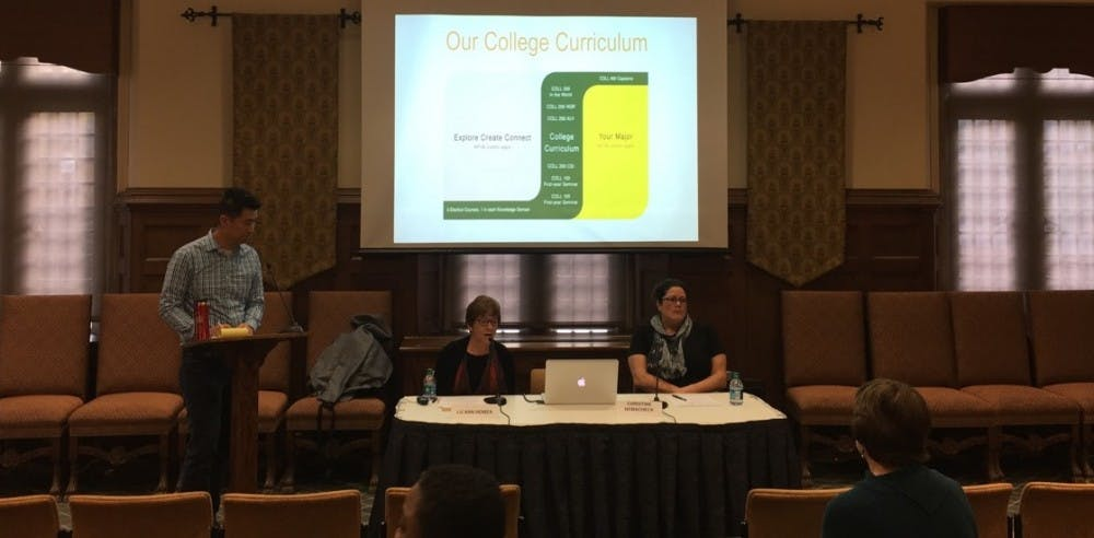 <p>College of William &amp; Mary faculty members present on their general education curriculum program at a town hall forum at Richmond last week.&nbsp;</p>
