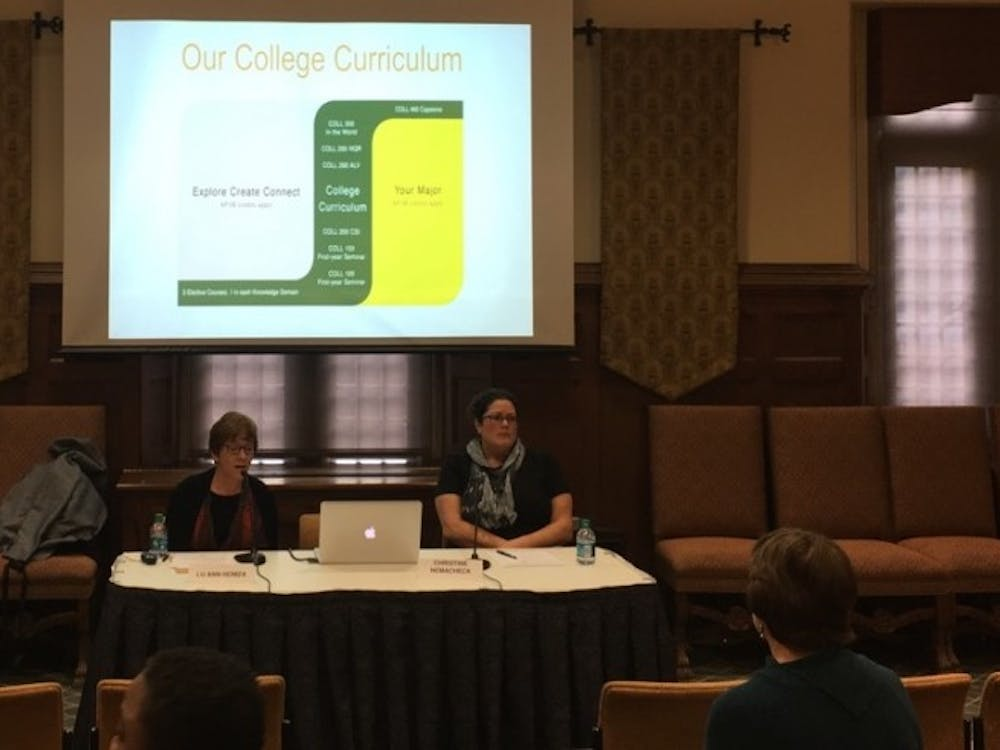 College of William & Mary faculty members present on their general education curriculum program at a town hall forum at Richmond last week.