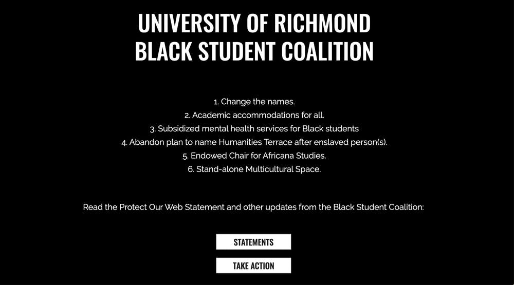 """<p>The title page of <a href=""""http://Protectourweb.com"""" target=""""_self"""">protectourweb.com</a> listing the Black Student Coalition's six demands.</p>"""