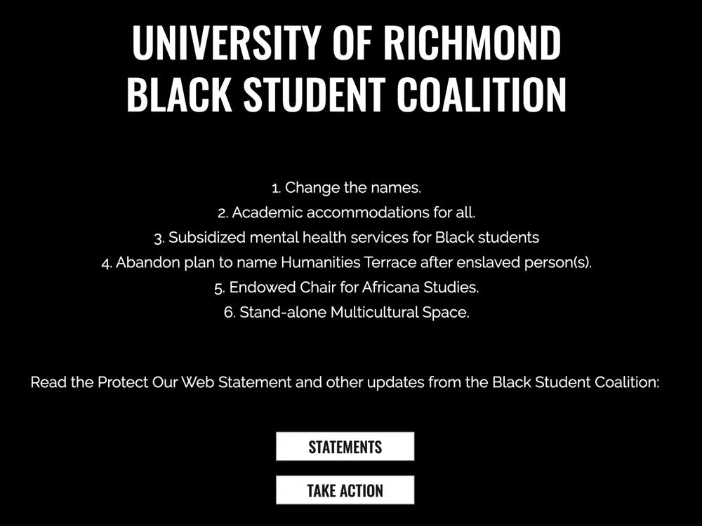 The title page of protectourweb.com listing the Black Student Coalition's six demands.