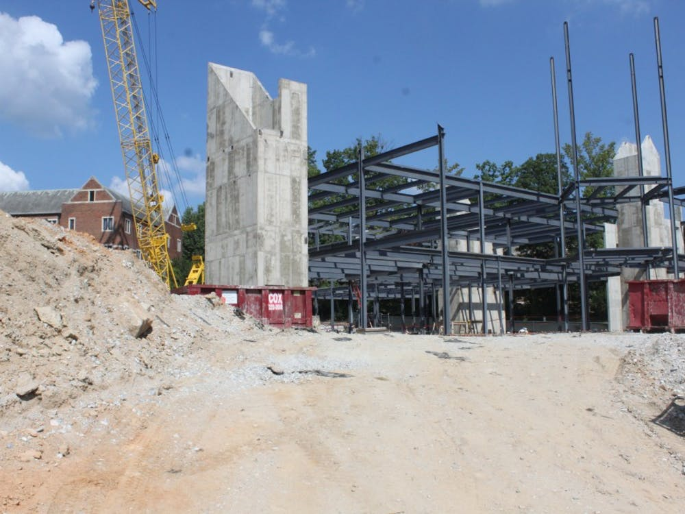 The construction of the new Queally Center for Admissions and Career Services.