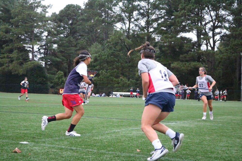 <p>The University of Richmond women's lacrosse team scrimmages against Keio University.</p>