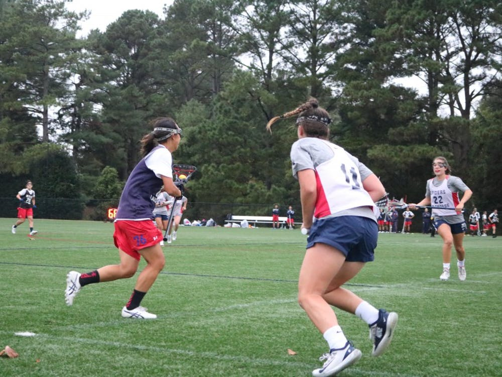The University of Richmond women's lacrosse team scrimmages against Keio University.