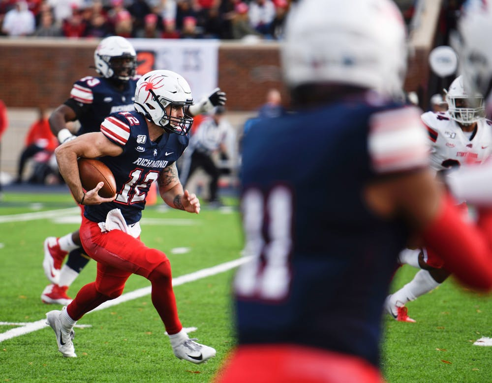 <p>Quarterback Joe Mancuso, a graduate student, is pictured during the Spiders' 2019 homecoming game.&nbsp;</p>