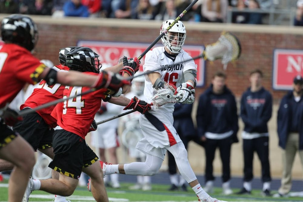 <p>Midfielder Tate Gallagher, a senior, plays offense during Saturday's game against the University of Maryland. The game took place on Saturday, Feb. 8. 2020 at the University of Richmond. <em>Photo courtesy of Richmond Athletics</em>&nbsp;</p>