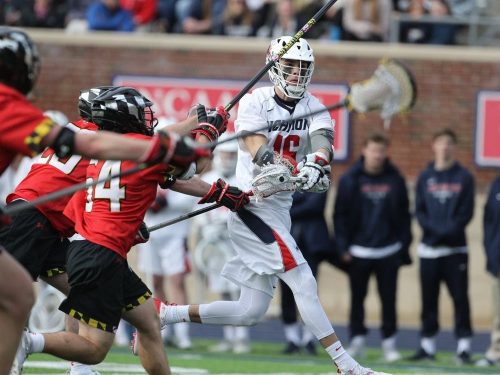 Midfielder Tate Gallagher, a senior, plays offense during Saturday's game against the University of Maryland. The game took place on Saturday, Feb. 8. 2020 at the University of Richmond. Photo courtesy of Richmond Athletics