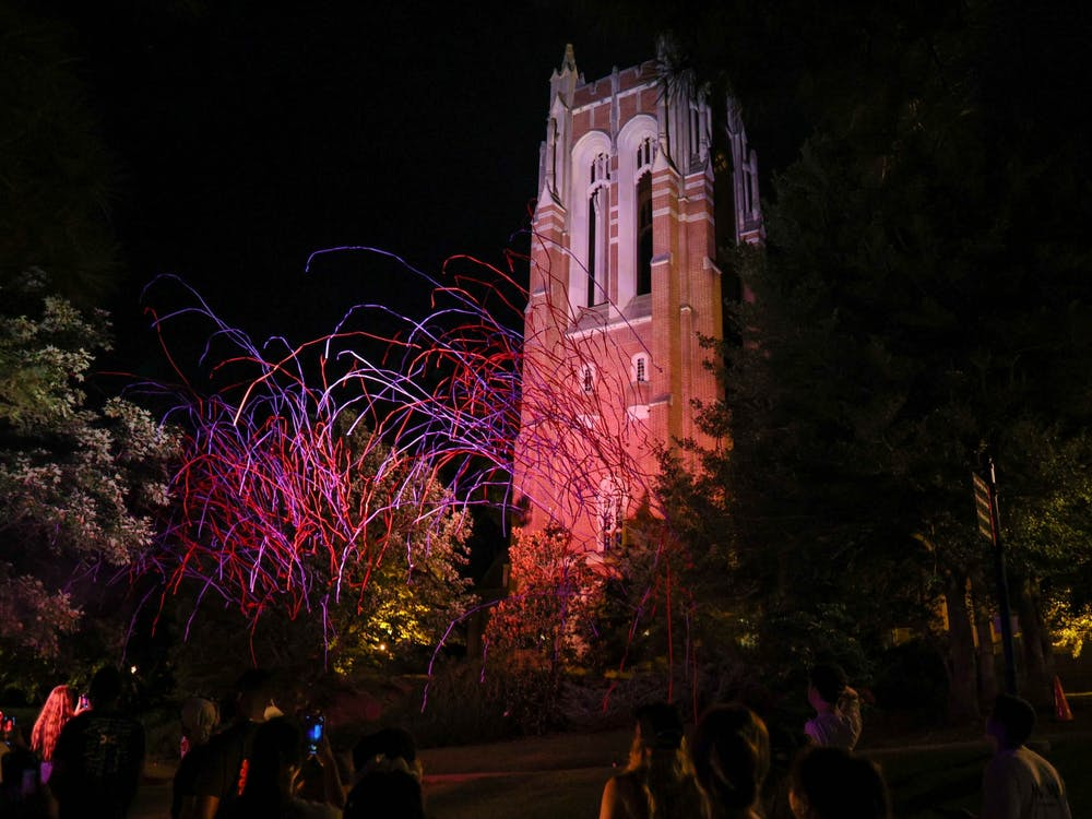 Welcome to Our Web hosted Spider Drop, the first event of its kind to welcome the new semester, on Aug. 22 in the Richmond Hall Quad. The event included the Ignite ceremony featuring candles and sparklers followed by a projection of the Richmond spider being dropped down Boatwright Tower.