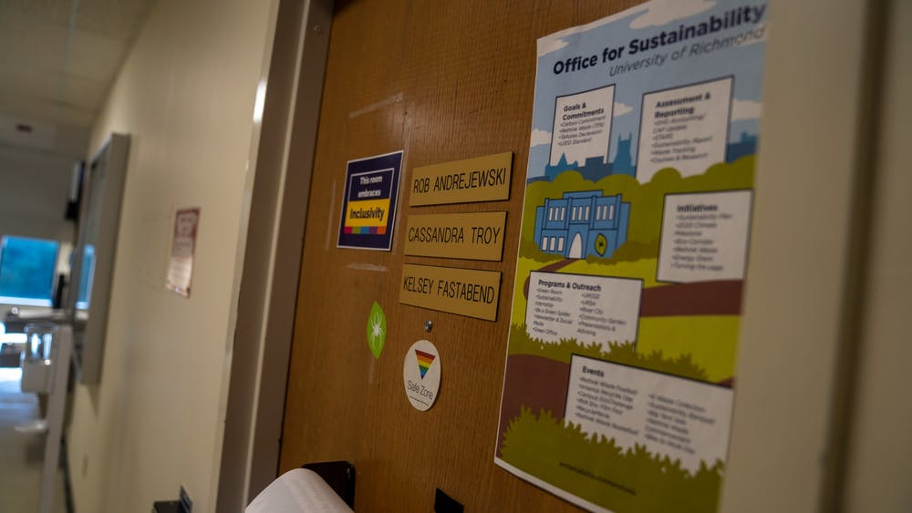 """<p>The entrance to the Office for Sustainability in Puryear Hall. The Office plans for the University to be carbon neutral by 2050, according to their <a href=""""https://sustainability.richmond.edu/goals/index.html"""" target=""""_blank"""">website</a>.</p>"""