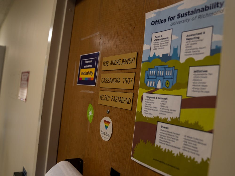 The entrance to the Office for Sustainability in Puryear Hall. The Office plans for the University to be carbon neutral by 2050, according to their website.