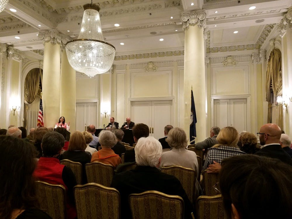 """In the Empire Room at the Jefferson Hotel, Todd Sechser of the University of Virginia (left) and Col. Lawrence Wilkerson of the College of William & Mary (right) discussed the """"North Korea Dilemma."""""""