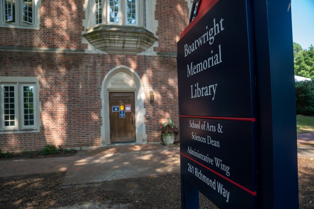 <p>&nbsp;The entrance to the Dean of the School of Arts and Sciences's office at Boatwright Memorial Library.</p>