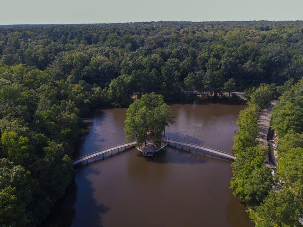 <p>The gazebo rests in the middle of Westhampton lake on Sep. 6, 2020.</p>