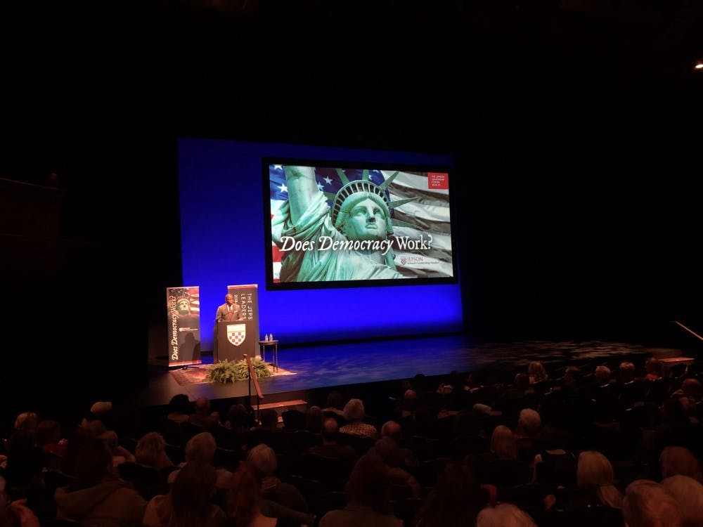 Richmond Mayor Levar Stoney spoke about voter disenfranchisement at a Jepson Leadership Forum event on Wednesday, Nov. 28 in the Alice Jepson Theater.