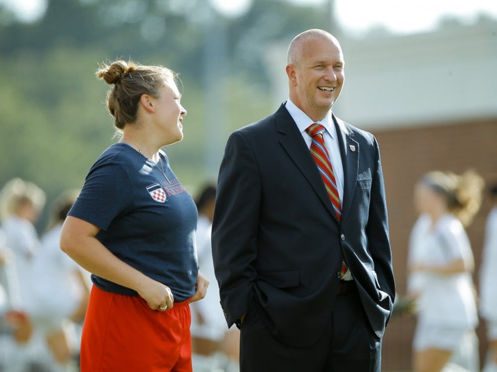 Head soccer coach Marty Beall (right) with assistant coach Kelly Grant (left).