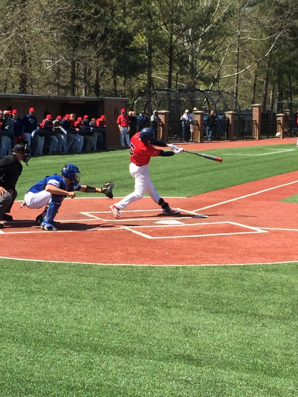 <p>Jansen Fraser swings at what would end up as a double during this weekend's series against Saint Louis.&nbsp;</p>