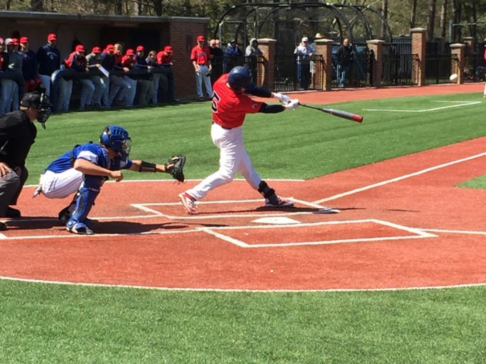 Jansen Fraser swings at what would end up as a double during this weekend's series against Saint Louis.
