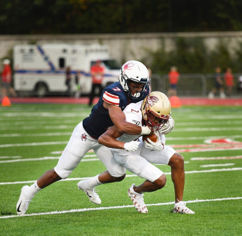 <p>Defensive back and redshirt sophomore Noah Nicholson tackles Elon's wide receiver Kortez Weeks during a home game on Saturday, Sept. 14, 2019.&nbsp;</p>