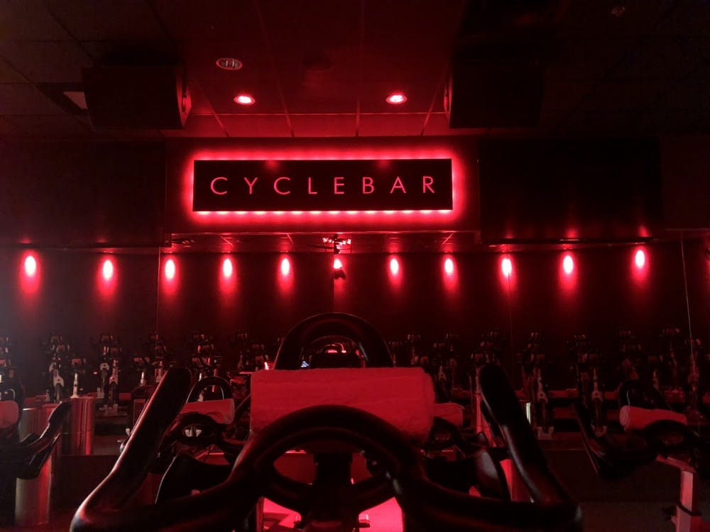 The CycleBar studio in Henrico where senior Maddie Kelley is an instructor.