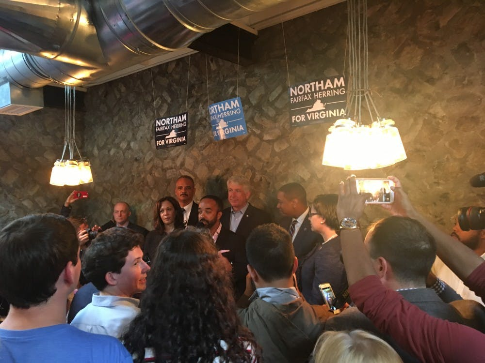 Guest speakers gather at a campaign rally for the gubernatorial democratic ticket. From top left: Eric Holder, Mark Herring, Justin Fairfax, Jennifer McClellan; from bottom right: Kamala Harris, Jeff Bourne.