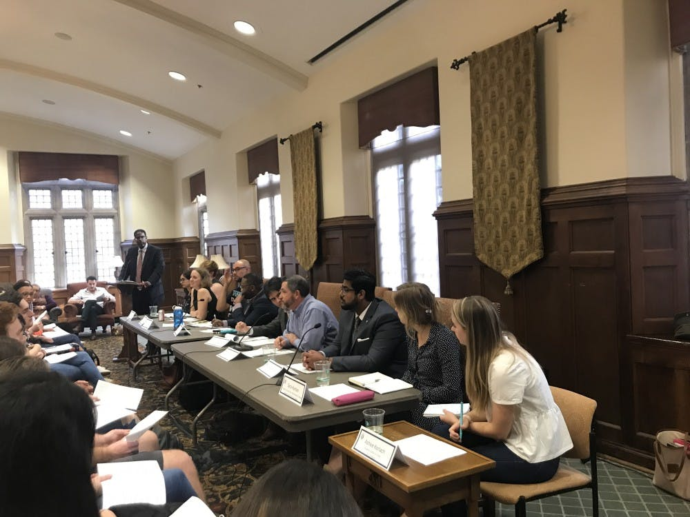 <p>Henry Chambers Jr., professor of law, moderates the 10-person panel at <em>Got Voice? </em>in the Brown Alley room on Feb. 5. &nbsp;</p>