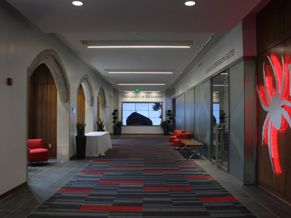 Carpets throughout the Queally Center for Admission and Career Services supports the University of Richmond's red and blue colors.