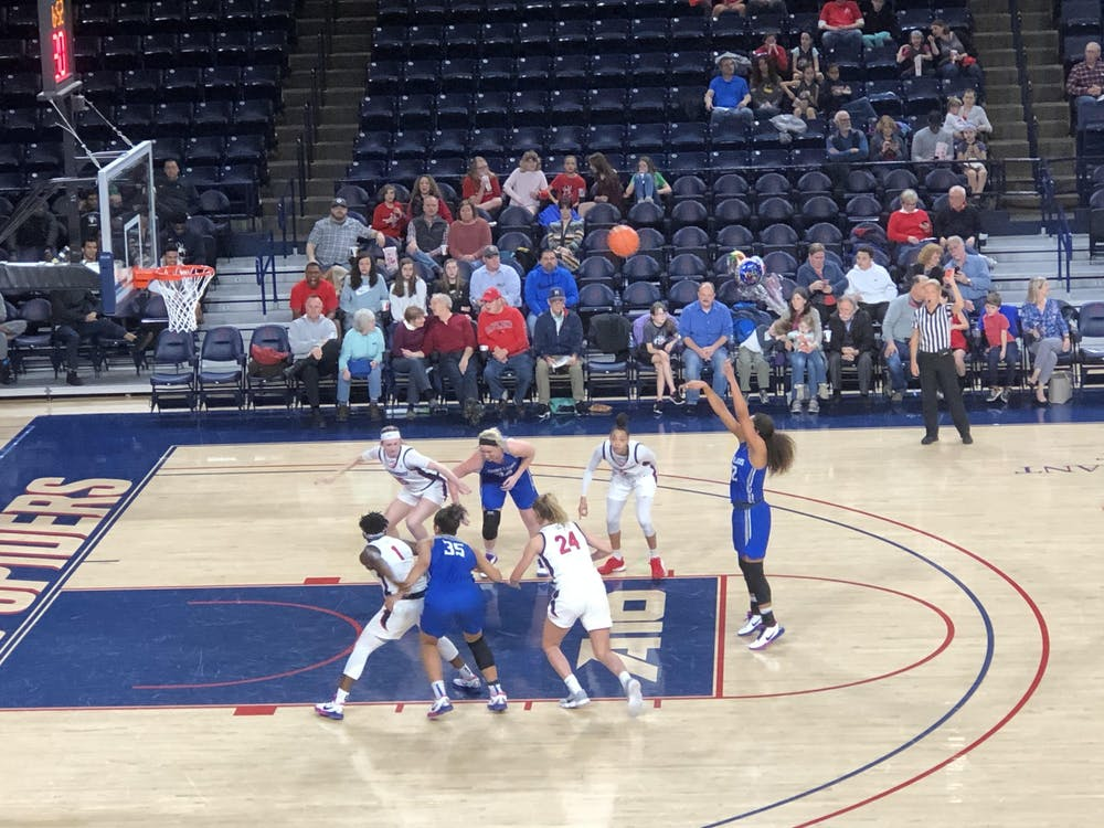 A player from the Saint Louis Billikens shoots a free throw during a home game at the Robins Center on Wednesday, Feb. 26, 2020. The Spiders lost 60-57.