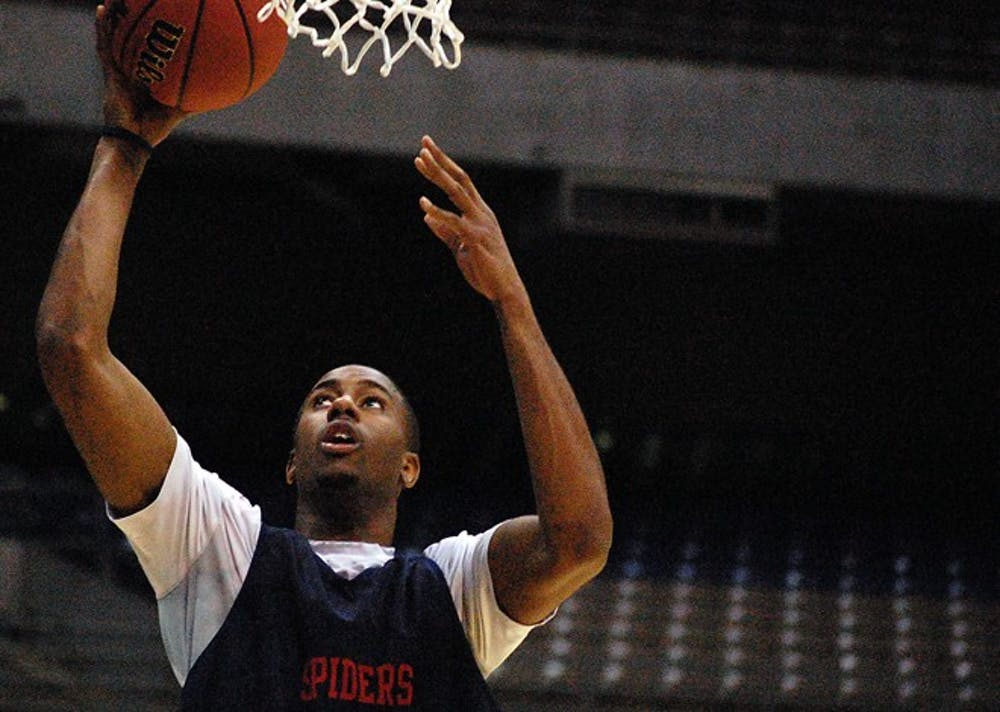 University of Richmond junior forward Darrius Garrett (1) goes up for a layup during a team practice at the Alamadome in San Antonio on Thursday, March 24, 2011, a day before the Spiders' game against No. 2 ranked University of Kansas. (Andrew Prezioso/The Collegian)