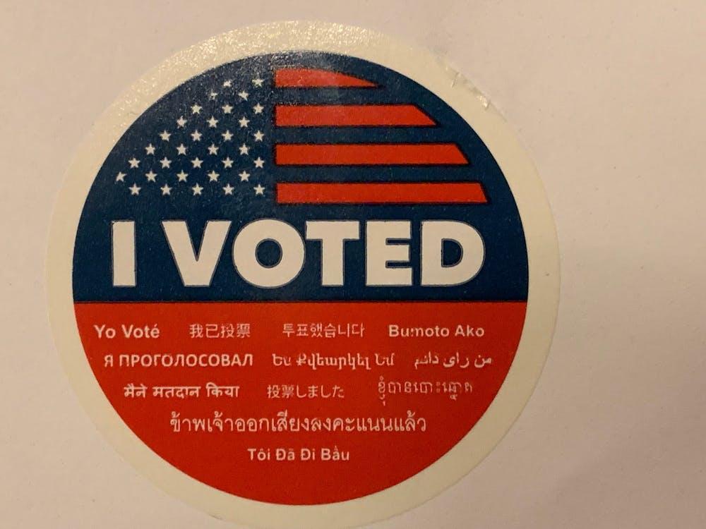 """<p>An """"I voted"""" sticker.&nbsp;</p>"""