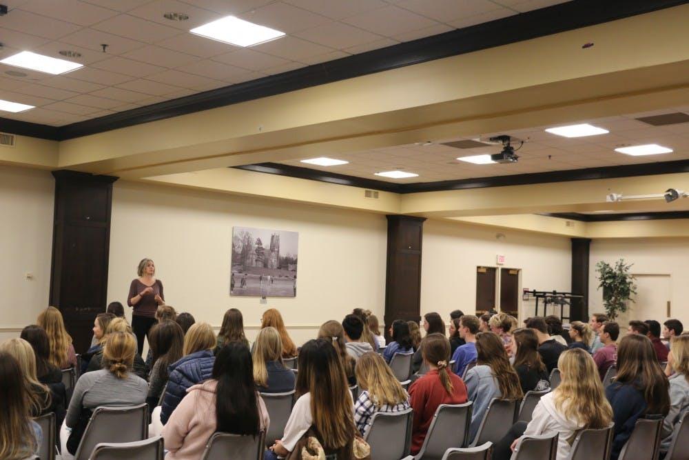 <p>Sarah Byrden addresses students in her talk focused on the power of speaking openly about sex. <em>Photo courtesy of Sarah Byrden</em></p>