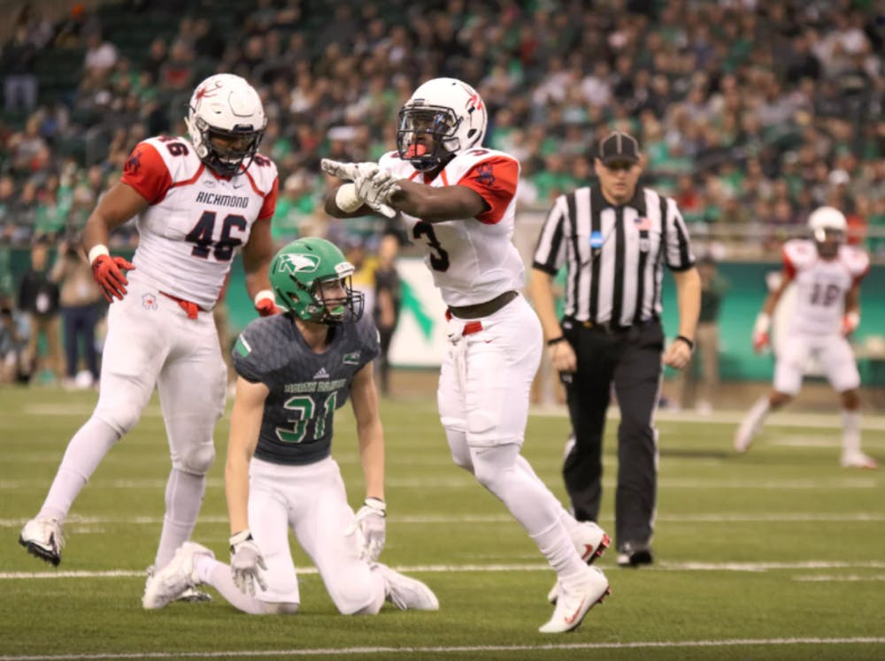 <p>Tafon Mainsah (3) was&nbsp;one of many Spiders to play stingy defense in the fourth quarter. He finished with three pass deflections.&nbsp;</p>
