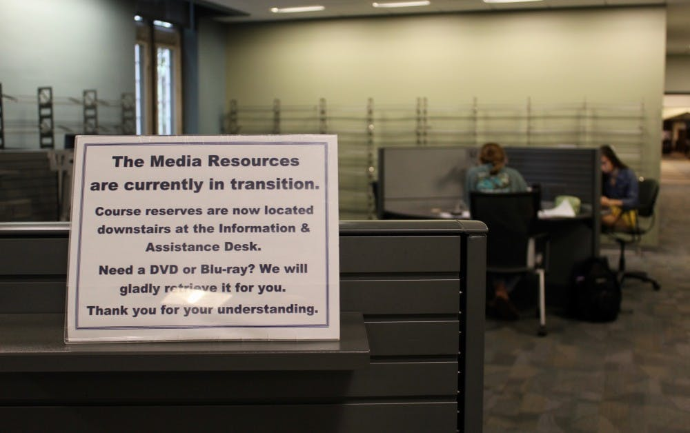 <p>A sign in the MRC directs students to the new temporary location of course reserves and DVDs.&nbsp;</p>