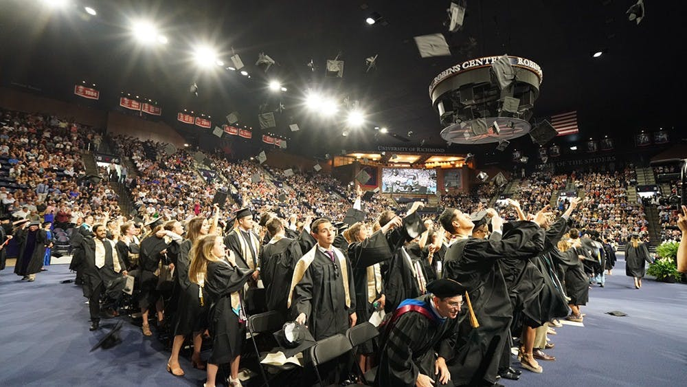 <p>The class of 2018&nbsp;celebrates commencement in the Robins Center. <em>Photo courtesy of the University of Richmond.&nbsp;</em></p>