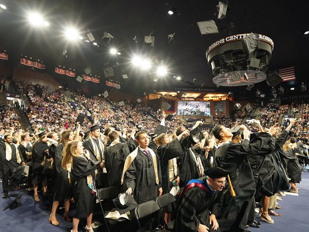 The class of 2018 celebrates commencement in the Robins Center. Photo courtesy of the University of Richmond.
