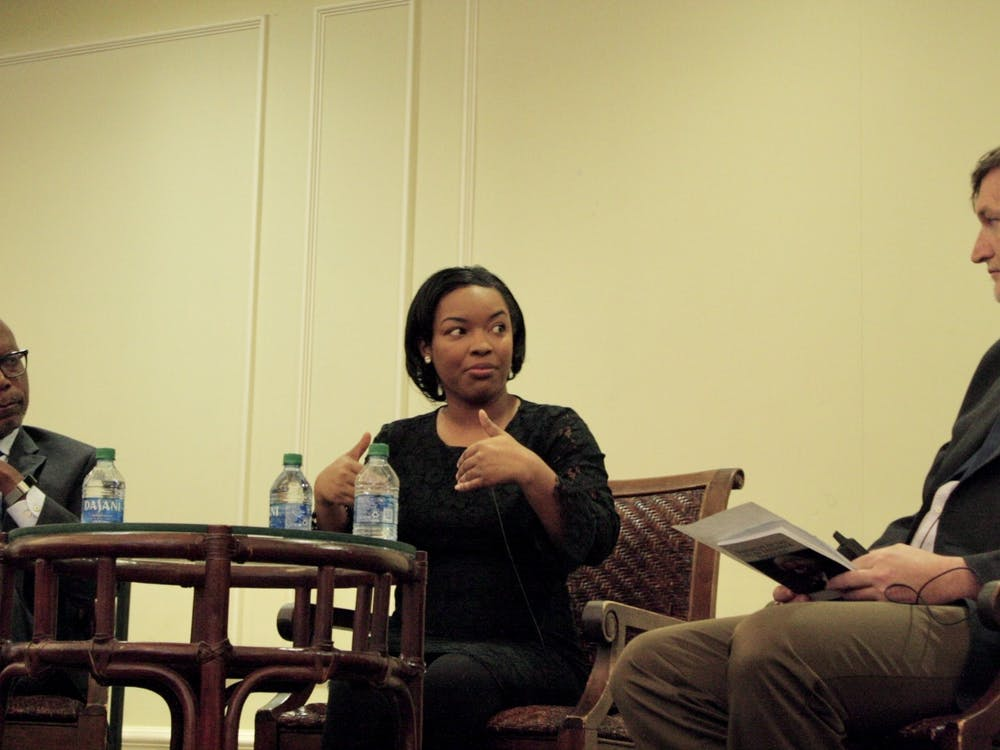 Michael Paul Williams, Ayesha Rascoe and Thad Williamson discuss the intersection of truth and journalism in the Jepson Alumni Center.