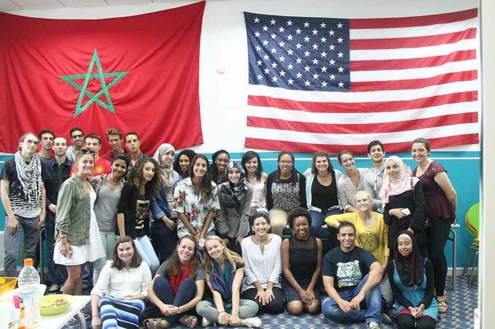 <p>Perri and other students at Mohammed V University in Rabat, Morocco. | Courtesy of Perri Goldstein.&nbsp;</p>