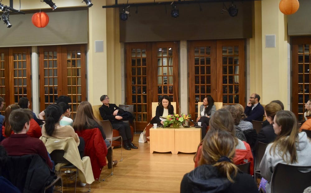 "<p>Four professors discuss what it means to be Asian during ""Asia Week"" at a student-requested panel on Tuesday, Nov. 14. From left: Tze Loo, Dan Chen, Jennifer Erkulwater and Shahan Mufti.</p>"