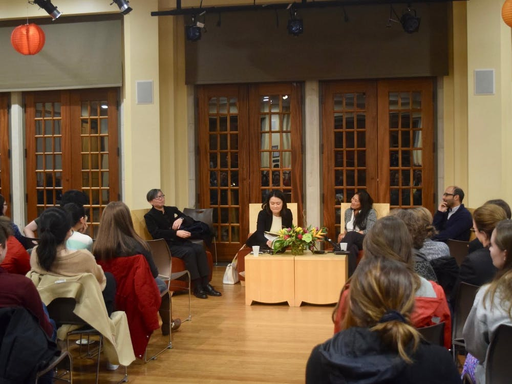 "Four professors discuss what it means to be Asian during ""Asia Week"" at a student-requested panel on Tuesday, Nov. 14. From left: Tze Loo, Dan Chen, Jennifer Erkulwater and Shahan Mufti."