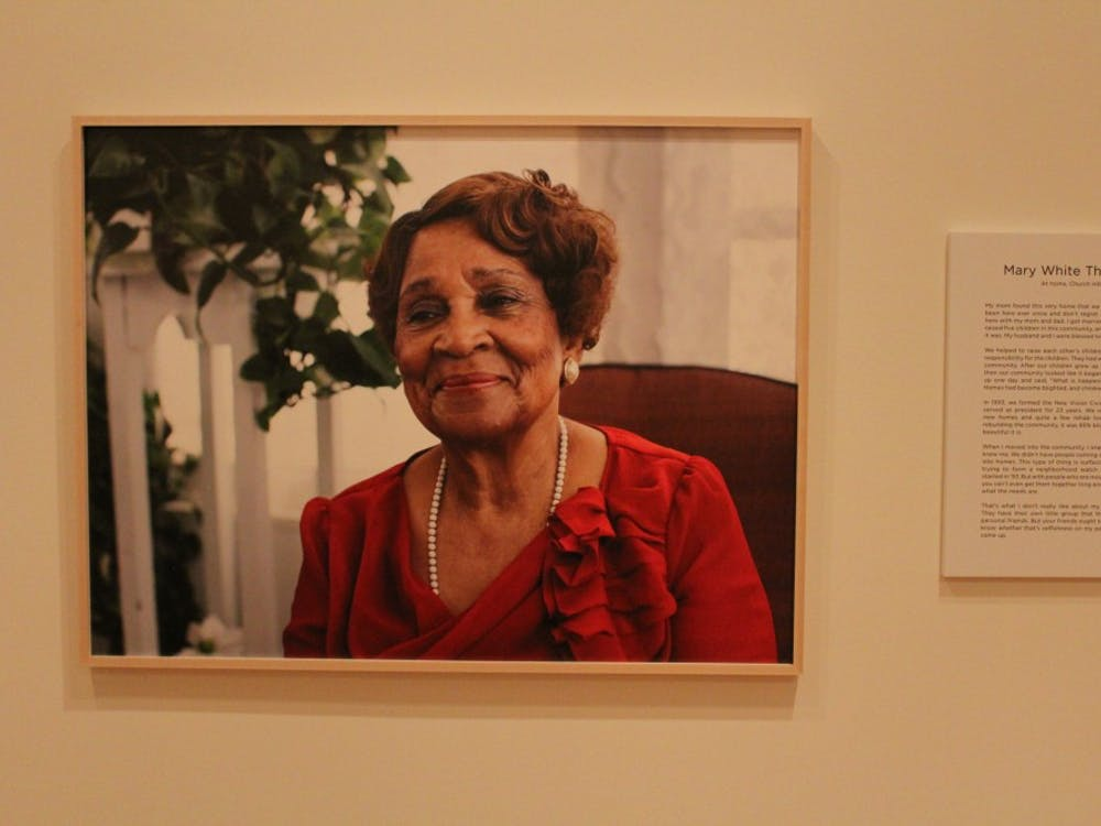 "A portrait of Mary White Thompson, a Richmond native who grew up during the Civil Rights era, featured in the ""Growing Up in Civil Rights Richmond: A Community Remembers"" exhibit."