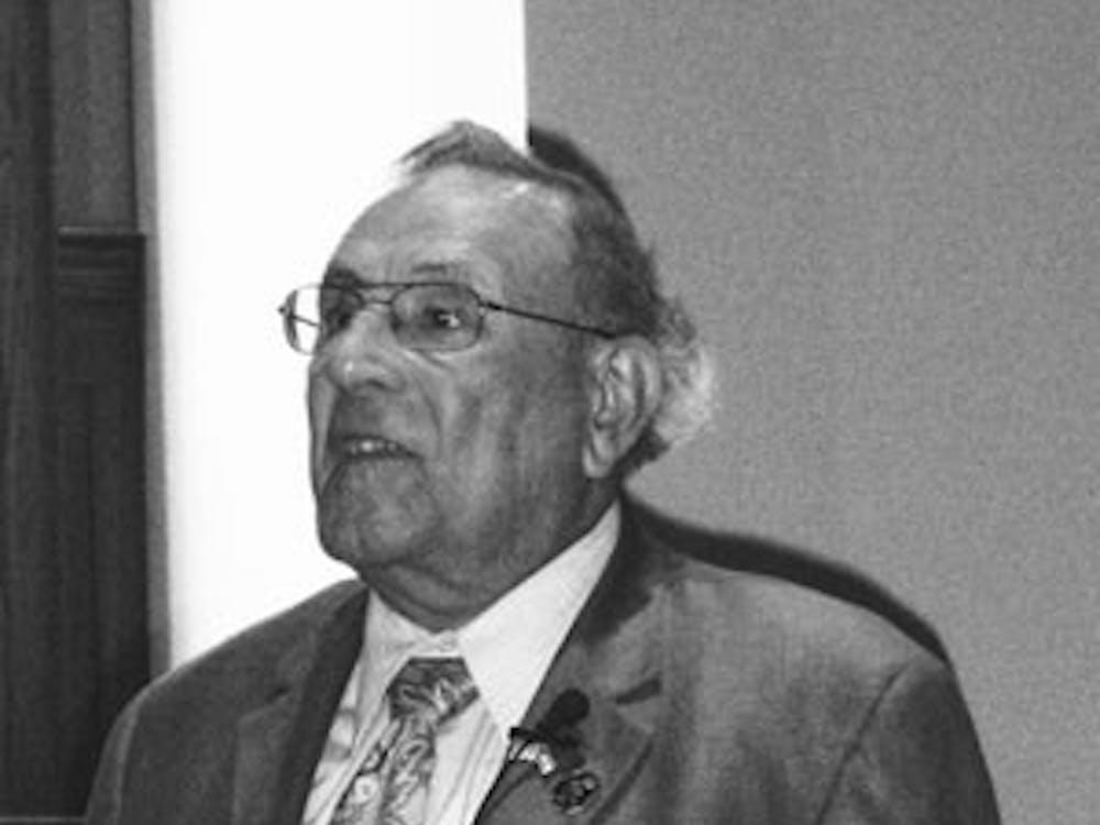 Local Holocaust survivor Alexander Lebenstein speaks to the UR community.