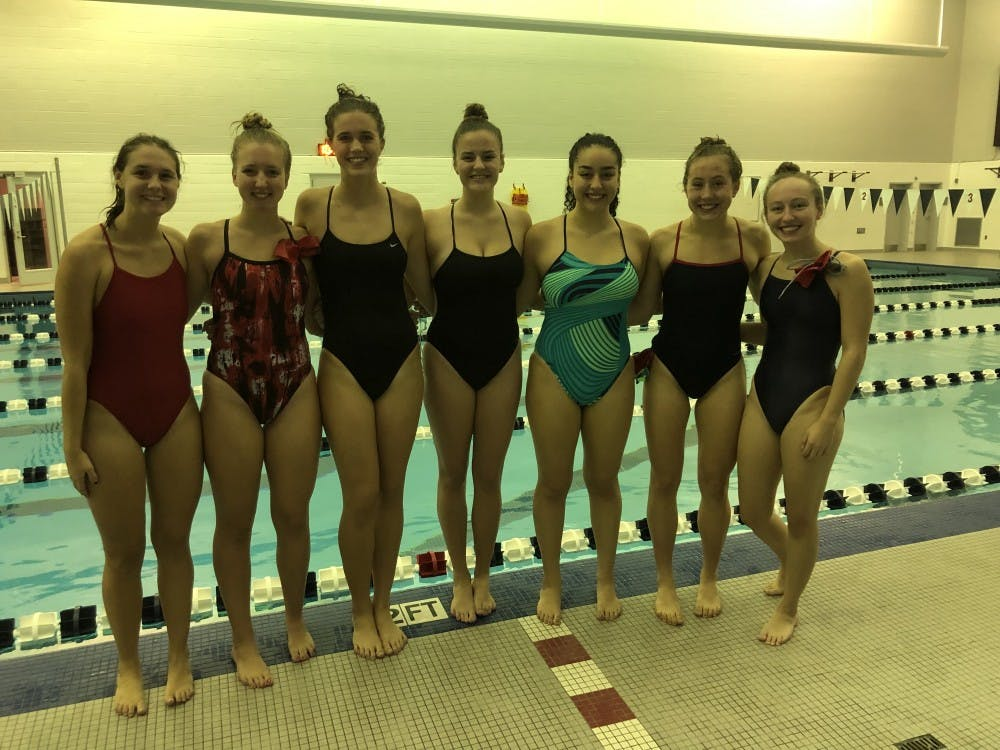 Members of UR's Club Swimming Team from left to right: Kendall Crispin, Kaylee Butterworth, Grace Kiernan, Liz Hussin, Suraya Souidi, Caroline McCartney and Angelique Steenhagen. Photo courtesy of Kendall Crispin.